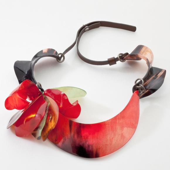 Marni Jewelry - Marni Collana Leather Horn Collar Bib Necklace